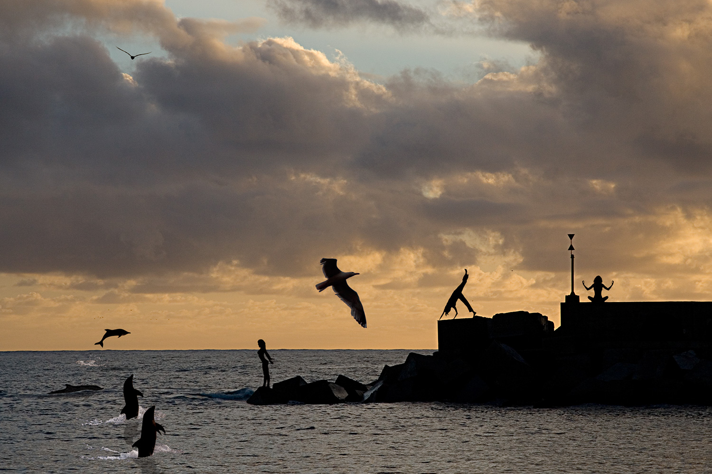 Nereidas jugando en el crepúsculo, fotocomposición de Ignacio Iglesias