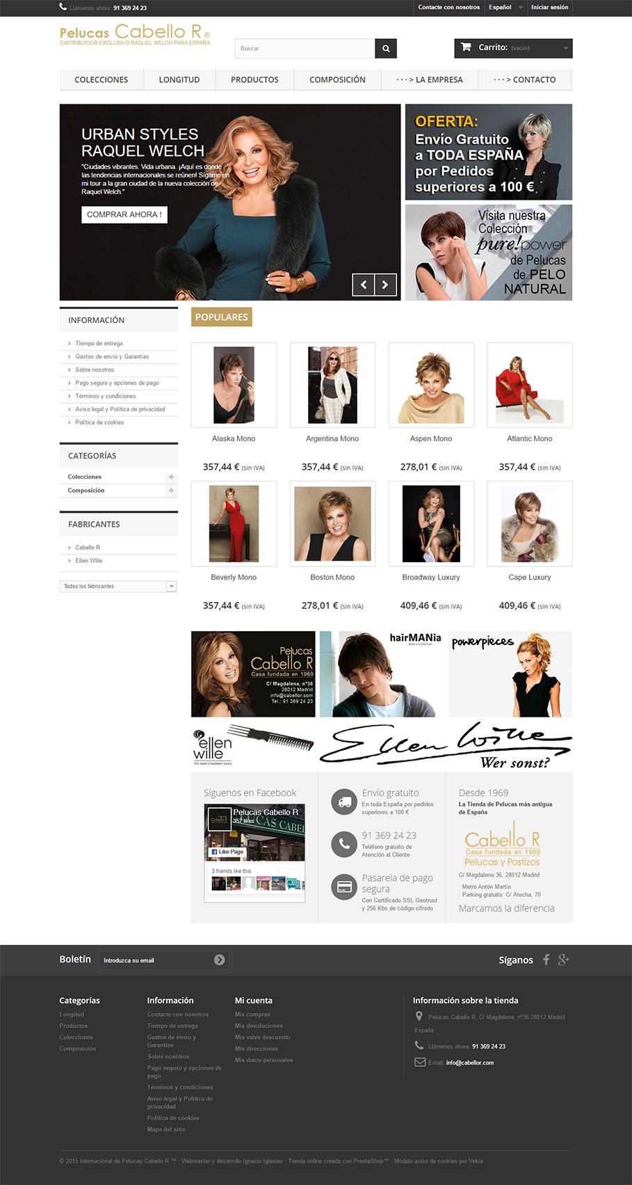 Pagina de inicio Tienda online de Pelucas Cabello R