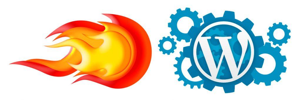 Logo WordPress con engranajes y fuego de cohete